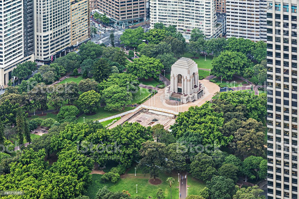 High view to Anzac War Memorial Hyde Park stock photo