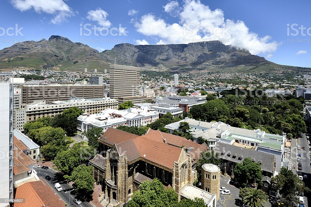 High viewpoint of Cape Town city and Table Mountain royalty-free stock photo