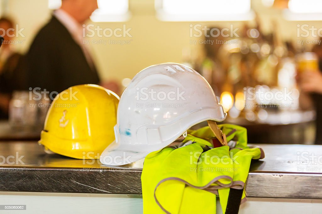 High Vis Safety Gear in a Bar stock photo