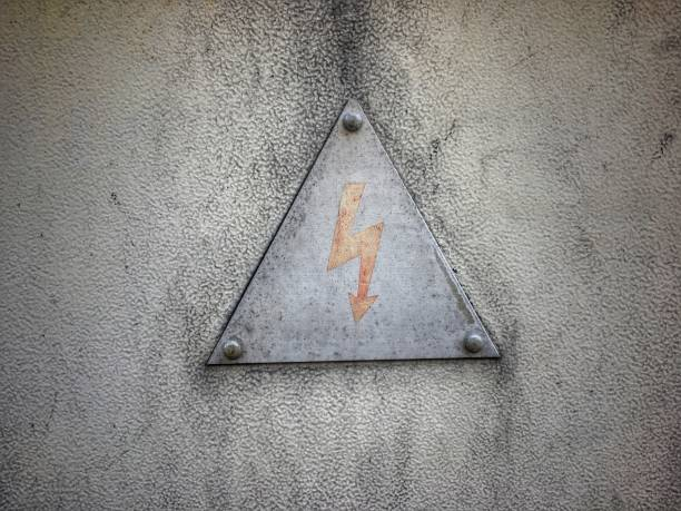High voltage. A sign warning of the dangers of electrocution stock photo