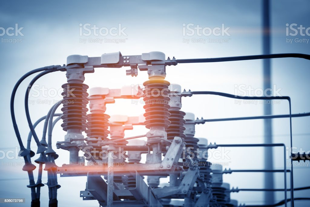 High voltage circuit breaker in a power substation stock photo