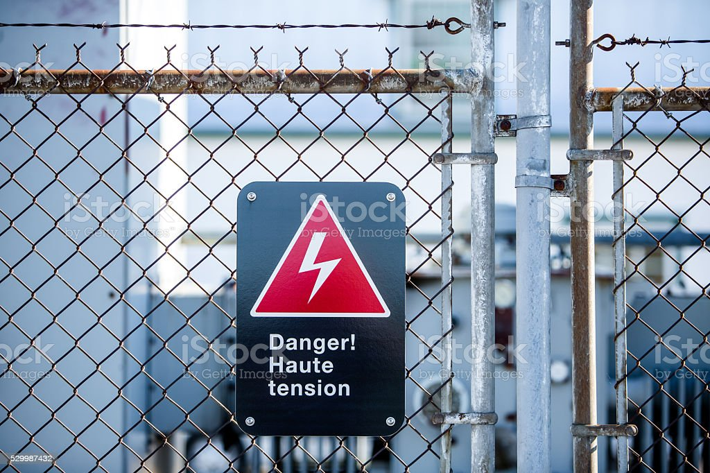 High Voltage Danger Sign In French Stock Photo & More Pictures of ...