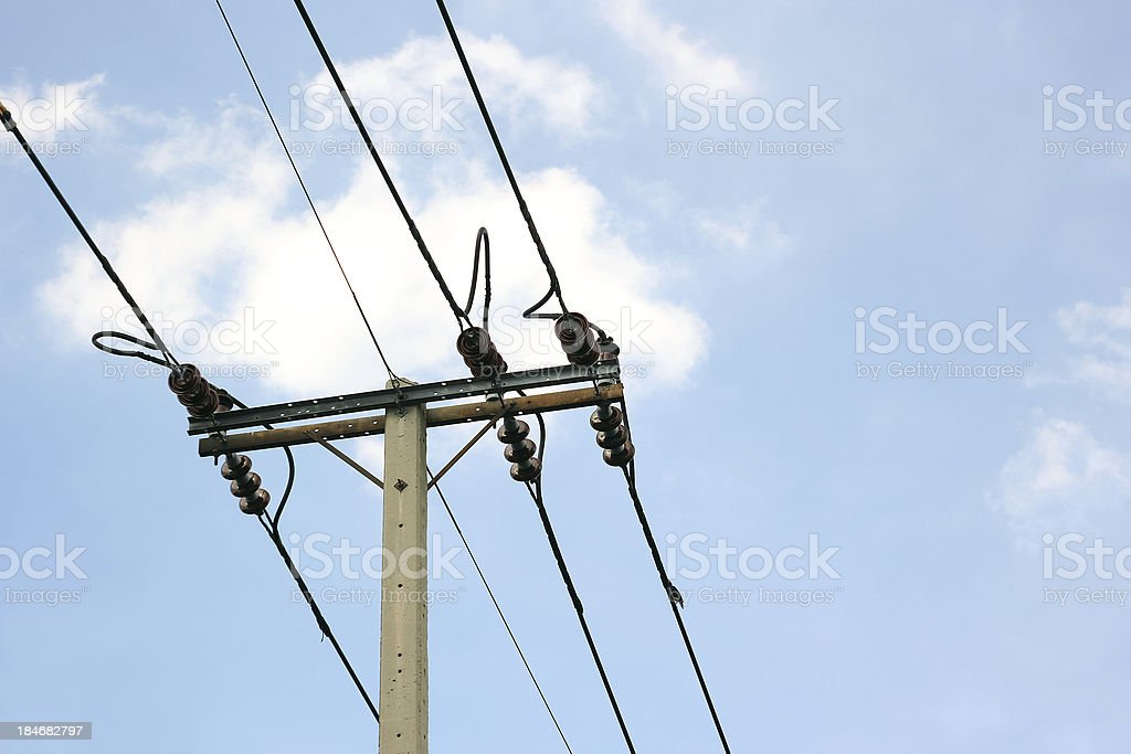 High voltage electric pole royalty-free stock photo