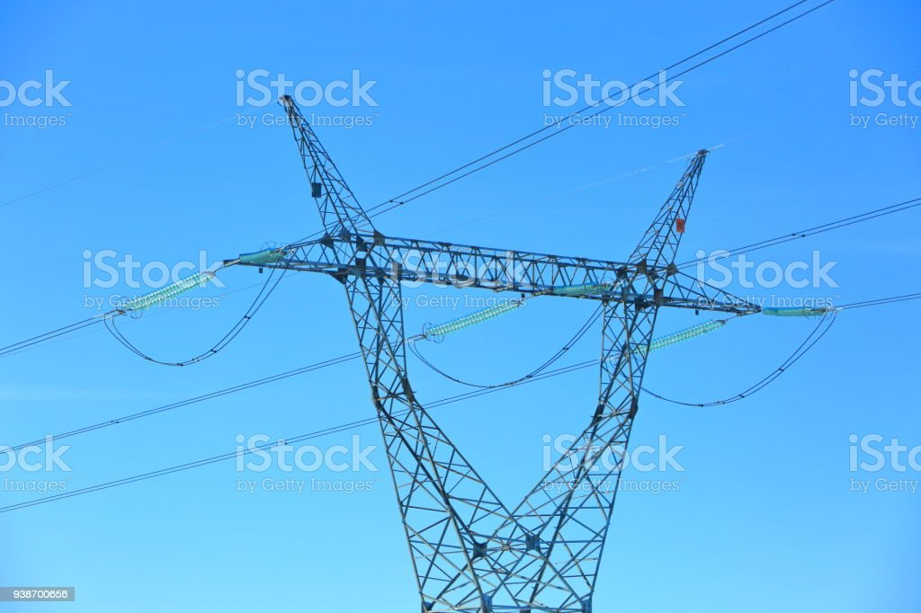 High Voltage Electric Pole Set As One Of Many On The Entire