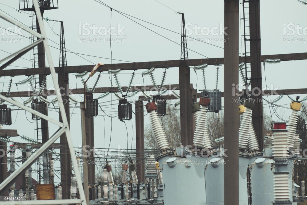 High voltage electric power production and electrical substation foto stock royalty-free