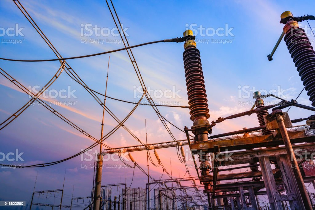 High Voltage electric substation with transformers stock photo