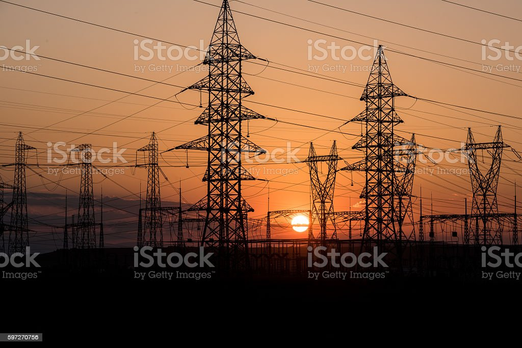 High voltage electric tower line. royalty-free stock photo