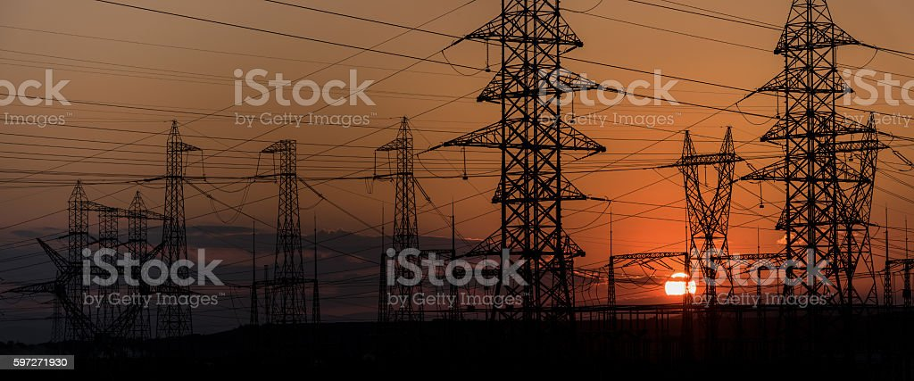 High voltage electric tower line. Lizenzfreies stock-foto