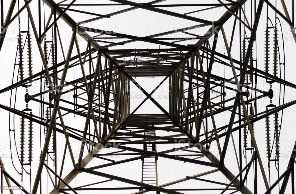 High Voltage Electrical Pole Structure, bottom-up view royalty-free stock photo