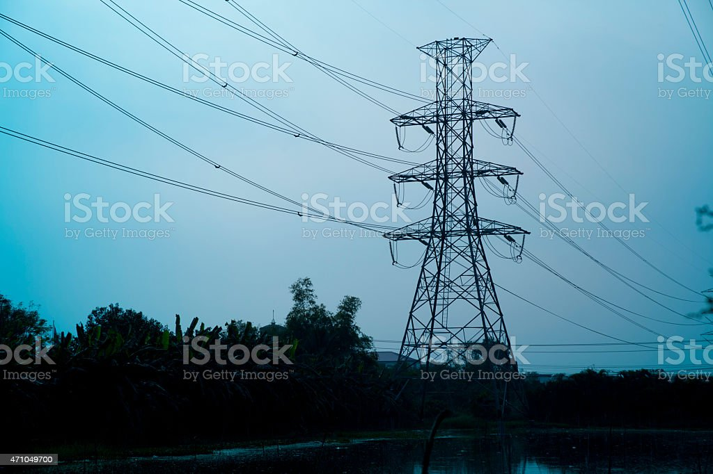 High voltage electrical towers stock photo