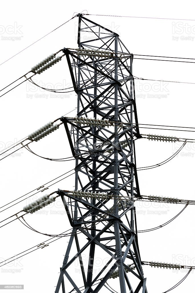 High voltage electricity pylon against white background royalty-free stock photo