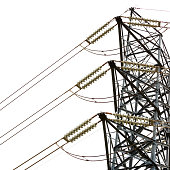 Closeup low angle view of high voltage electricity pylon against white background, full frame square composition with copy space