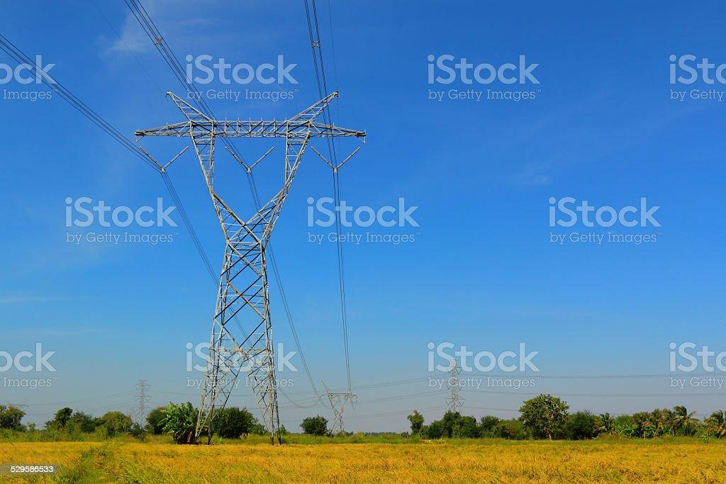 High voltage electricity pylon stock photo