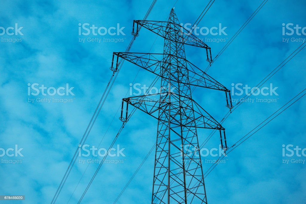 High voltage electricity tower with wires, landscape. royalty-free stock photo