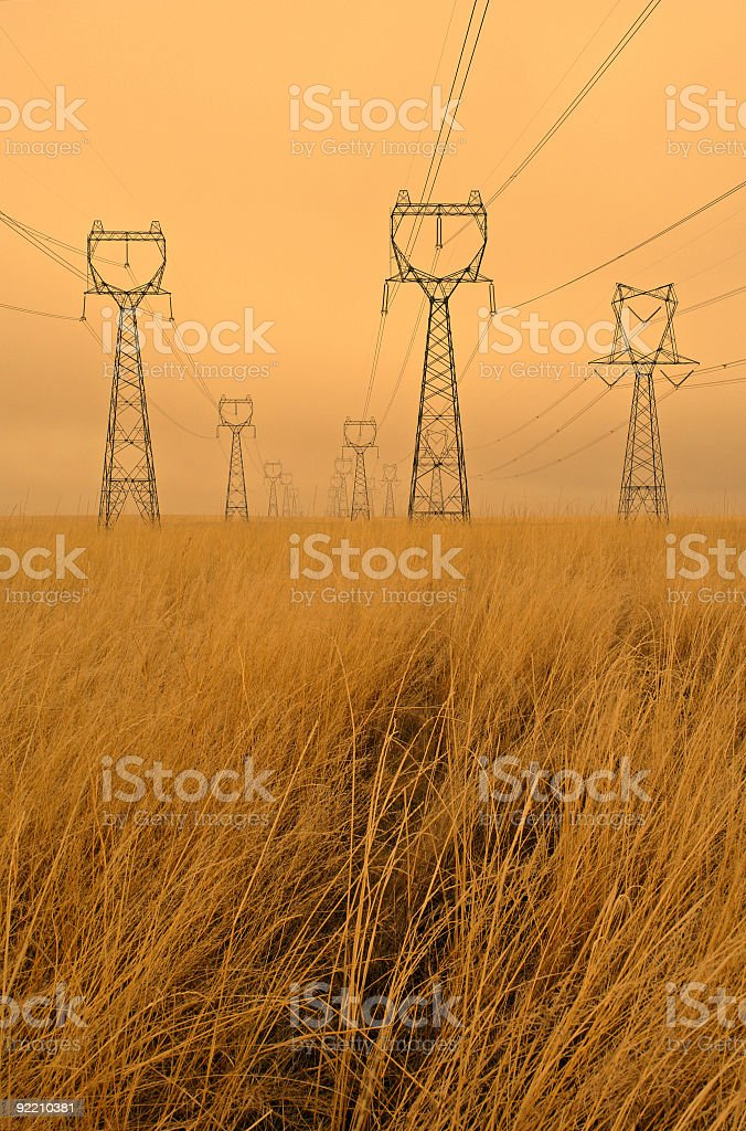 High Voltage in Wheat Fields royalty-free stock photo