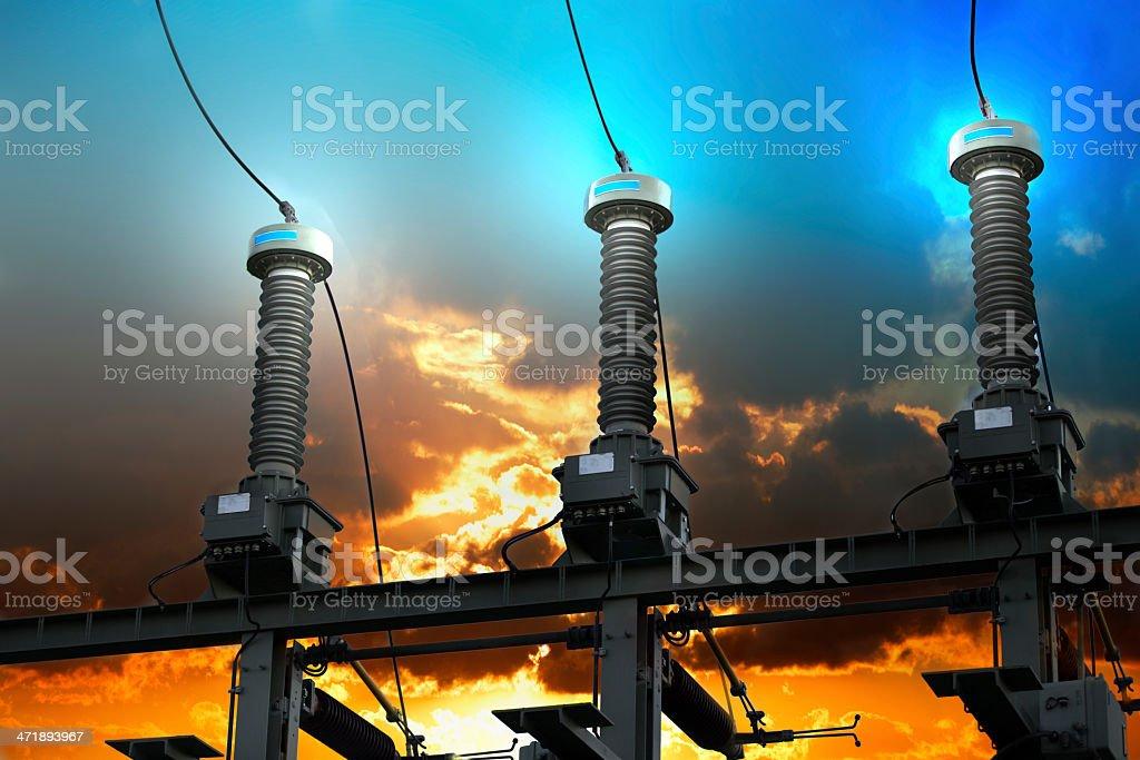 High voltage isolators burning background royalty-free stock photo