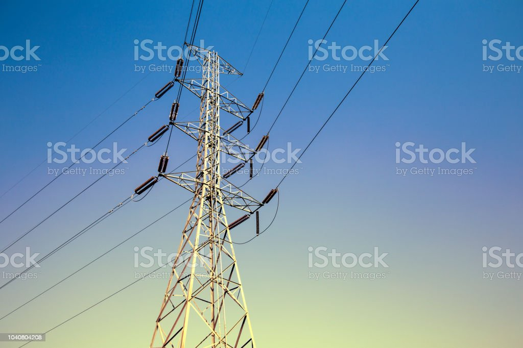 high voltage pole or High voltage tower on sky background stock photo