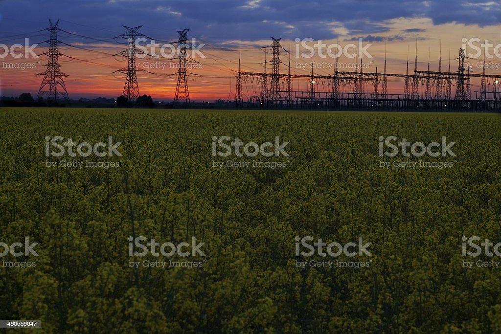 High voltage pole stock photo