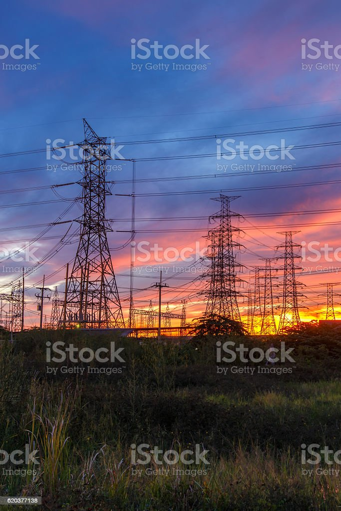 High voltage pole, Transmission line tower in Thailand foto de stock royalty-free