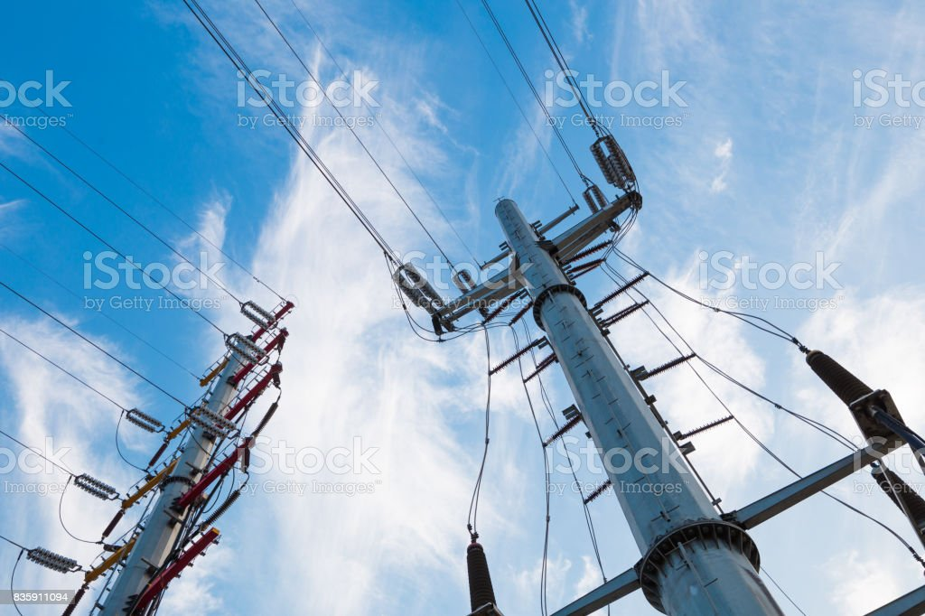 High voltage post or High voltage tower stock photo
