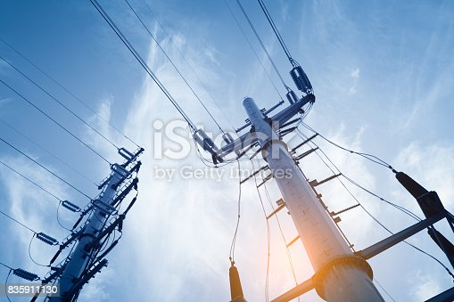 istock High voltage post or High voltage tower 835911130