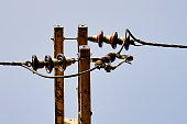 High voltage pole, electricity post with blue sky