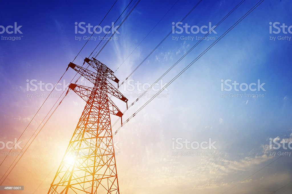 high voltage post. stock photo