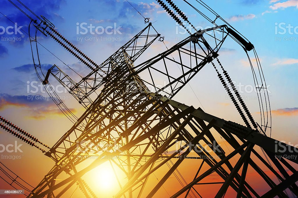 high voltage post. stock photo