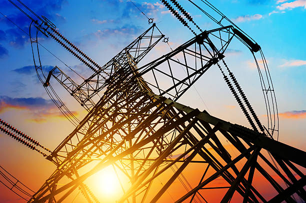 high voltage post. - transmission lines stock photos and pictures