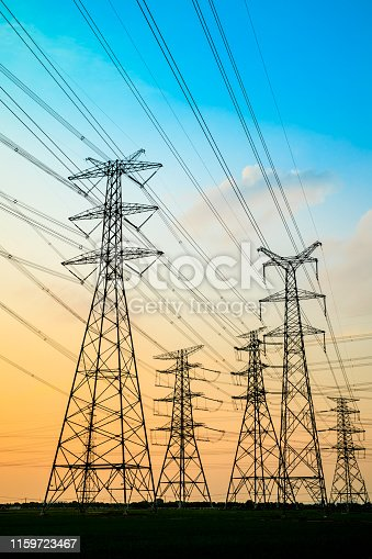 High voltage post,High voltage tower sky sunset background
