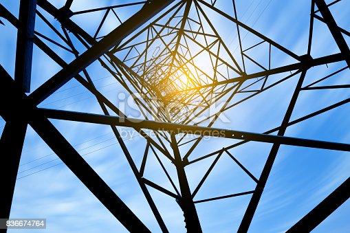istock high voltage post.High-voltage tower sky background. 836674764