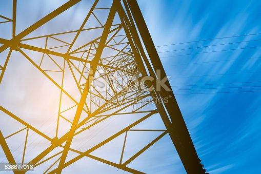 istock high voltage post.High-voltage tower sky background. 836677016