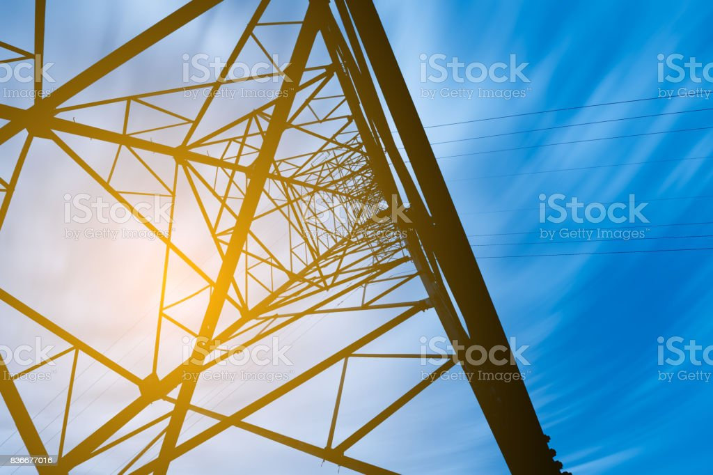 high voltage post.High-voltage tower sky background. stock photo