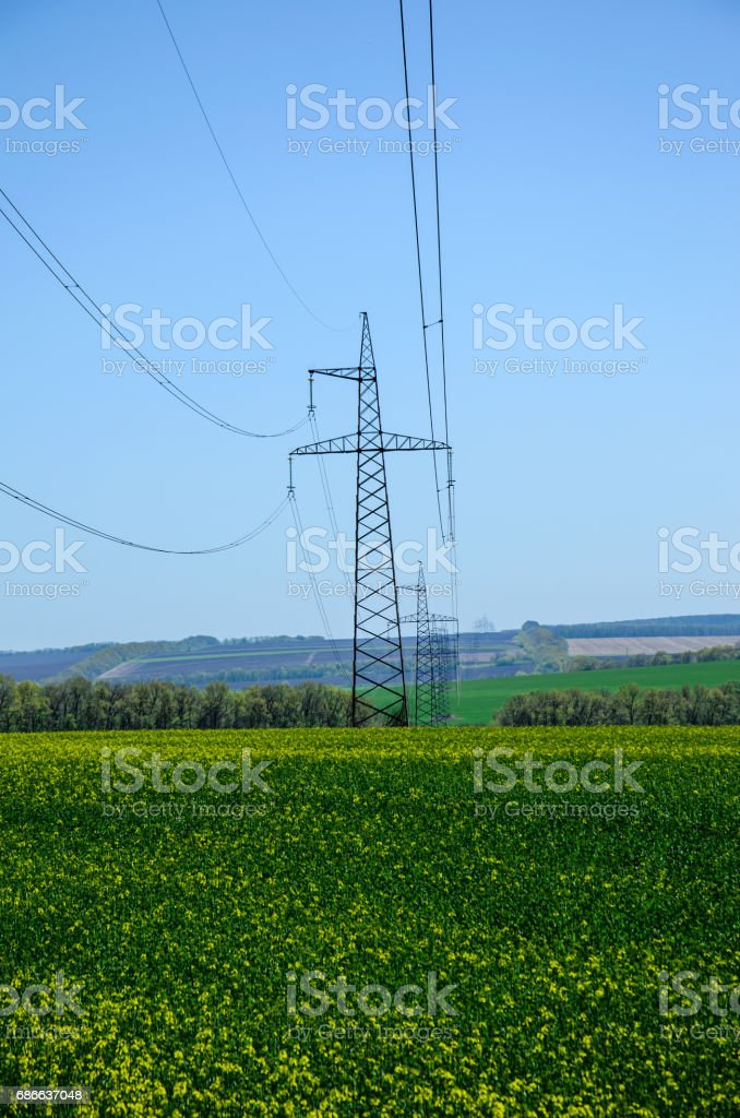 High voltage power line against sky 免版稅 stock photo