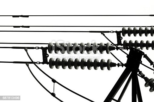 High voltage power line insulator against white background with copy space, full frame horizontal composition