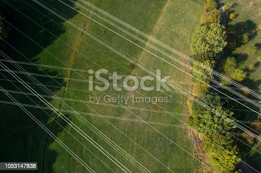 High voltage power lines - aerial view