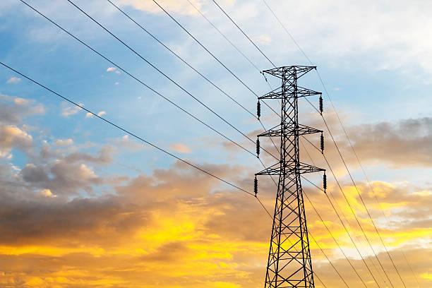 high voltage power lines - generator text stock-fotos und bilder