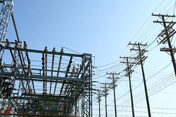 High voltage power plant - transformation station stock photo