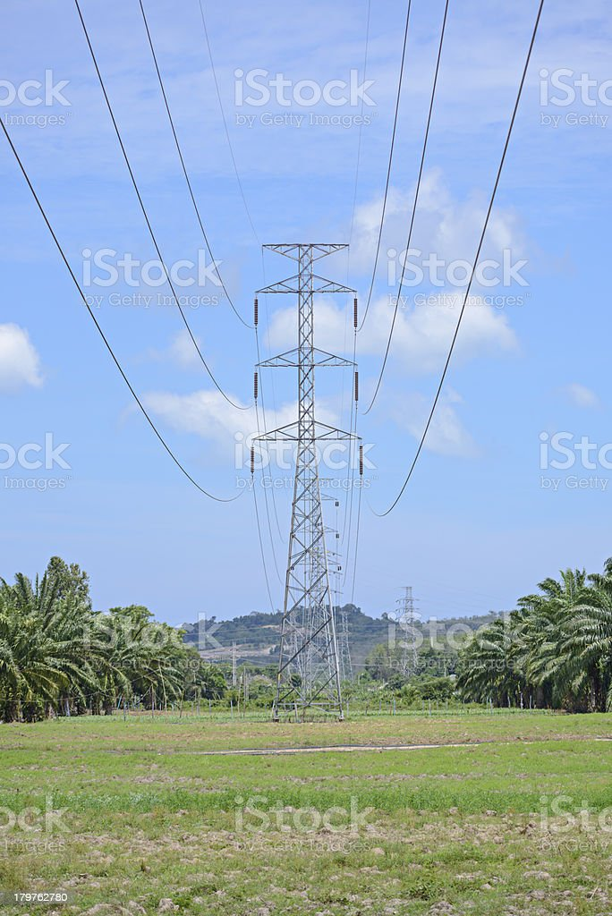 High voltage power pylons royalty-free stock photo