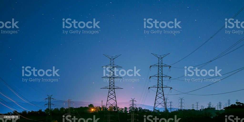 High voltage power tower stock photo