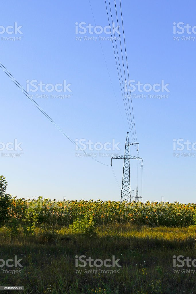 High voltage power tower royalty-free stock photo