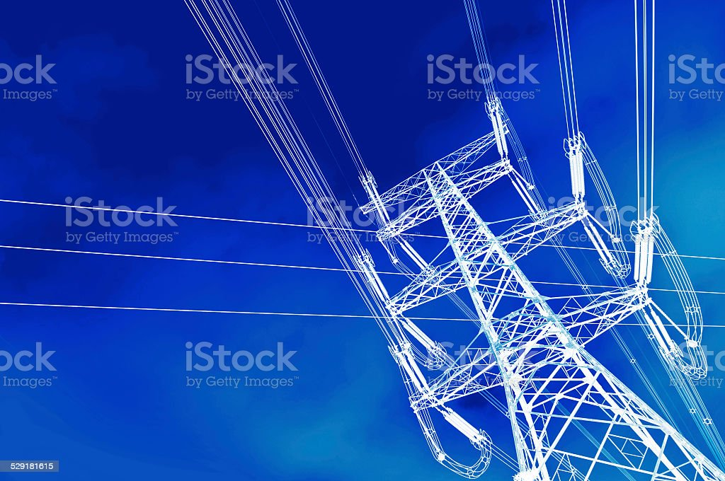 High voltage power tower pylon and line cables stock photo