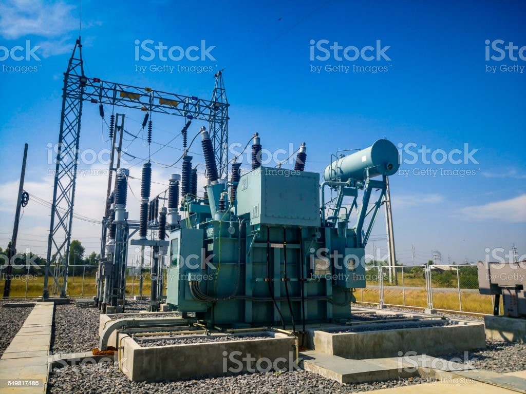 High voltage power transformer substation in Solar power station stock photo