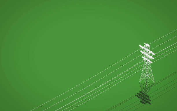 high voltage power transmission tower on green background. 3d rendering - rete elettrica foto e immagini stock