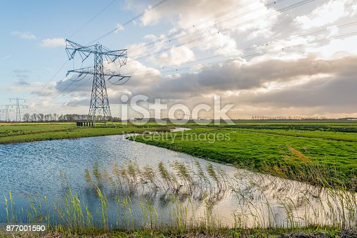 istock High voltage pylons and cables in a Dutch polder landscape 877001590
