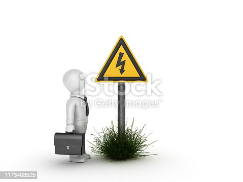istock High Voltage Road Sign with Business Character - 3D Rendering 1173403525