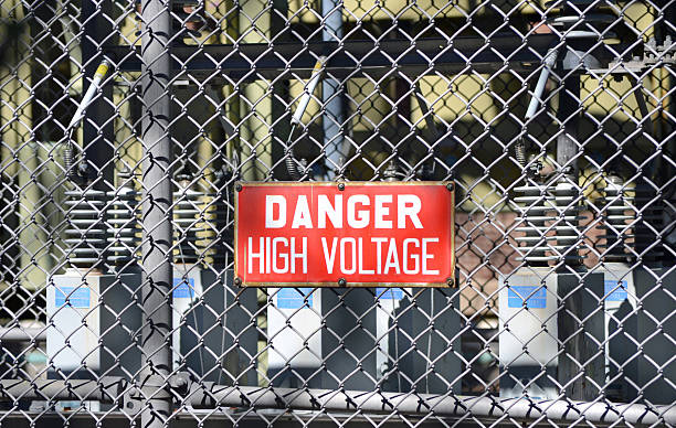 High Voltage Sign 3 stock photo