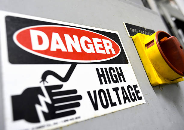 High voltage sign High voltage sign, electrical board close up high voltage sign stock pictures, royalty-free photos & images