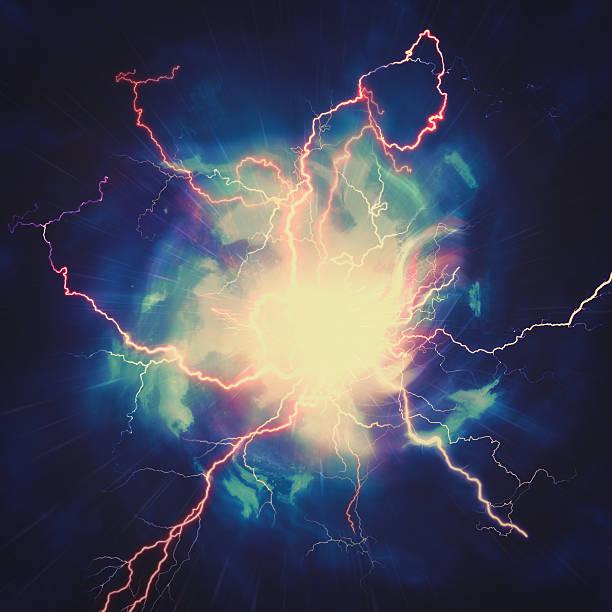 high voltage strike, abstract technology and science backgrounds - teleport bildbanksfoton och bilder