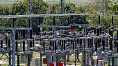high voltage substation with switches and disconnectors